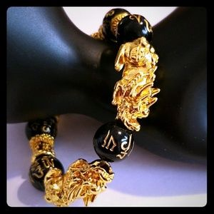 Bracelet, Double-Dragon Heads,14K Gold Plated